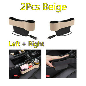 2x Beige PU Leather Car Seat Crivice Storage Box 2 USB Cup Holder Left + Right