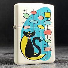 Riley's 66 Custom Zippo Lighter - Retro Kitty Cat - White Matte