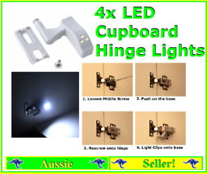 4x Led Cupboard Pantry Hinge Lights Fixes to most standard hinges White Light