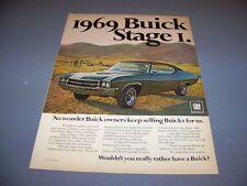 VINTAGE..1969 BUICK GS-400 STAGE 1..COLOR SALE AD...RARE! (605M)