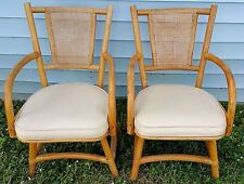 2 Vtg Mid Cent Hollywood Regency Bamboo Rattan Cane Bentwood Vinyl Swivel Chairs