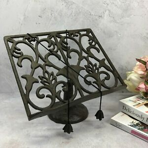 Cook Book Stand Rustic Cast Iron Metal Kitchen Recipe Stand Cook Book Holder