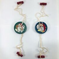 Vtg Silvestri Christmas Button Spinner Twirly Whirly Toy Wood Santa Lot of 2