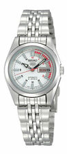 Seiko 5 Automatic Ladies Steel Watch White And Red Racer Dial SYMA41K1 UK Seller