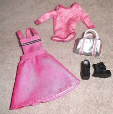 BARBIE DOLL CLOTHES - PINK JUMPER, LONG SLEEVED TOP, SHOES, PURSE