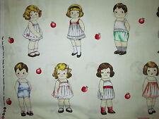 PAPER DOLLS GIRLS BOYS PAPERDOLLS APPLES VARIETY WHITE FABRIC FQ OOP