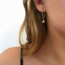 Tiny Star Stud Chain Earrings Boho Silver Gold UK