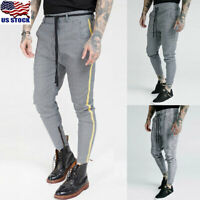 Fashion Mens Striped Casual Pants Joggers Slim Fit Skinny Casual Pencil Trousers
