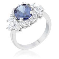 Krizia 4.2ct Blue Tanzanite CZ Rhodium Plated Classic Cocktail Ring Size 8 New