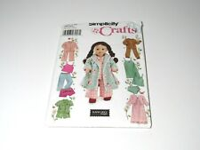 """Simplicity Elaine Heigl Designs Doll Clothes Pattern for 18"""" tall 5275 Pajamas"""