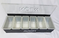 AVION Tequila Bar Top Garnish CaddyCondiment Container 6 Cups w/ Lid