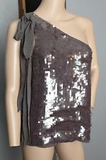 Alice + Olivia Gray Silk Sequined Bow Detailed Off The Shoulder Tank Top Size L