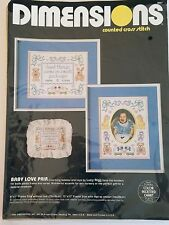 Dimensions BABY LOVE PAIR 3607 Counted Cross Stitch Kit 1986