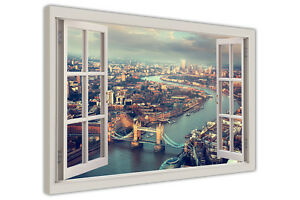 LONDON SUMMER TOWER BRIDGE 3D WINDOW VIEW CANVAS WALL ART PICTURES CITY PRINTS