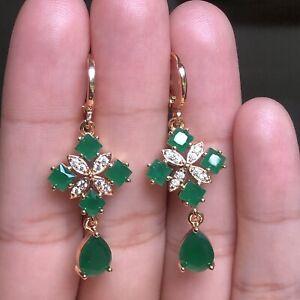 Fashion 18k Gold Filled Womens Earrings Jewelry Navy Blue Dangles Accessory