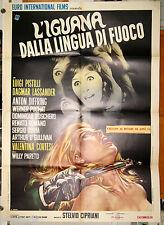 manifesto 2F film L'IGUANA DALLA LINGUA DI FUOCO Riccardo Freda 1971