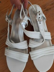 White Wedge Sandals Marks And Spencer Size 7.5uk