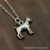Silver Boxer Dog Charm Necklace - English French Bulldog Pendant Jewelry NEW