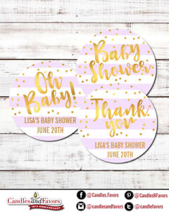 Oh Baby Faux Gold - Round Personalized Baby Shower Sticker Labels | Lavender