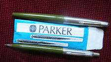 PARKER 45 STUDENT FOUNTAIN PEN & PENSIL OLIVE GREEN UNUSED MADE IN ENGLAND