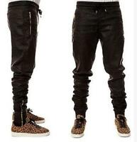 Hip Hop Mens Jogger Pants PU Leather Pleated Zip Trousers Motorcycle Black Punk