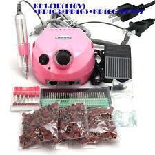 110V Us Plug Pink Nail Drill 30,000 Rpm Polisher Kit 30x Bits 300x Sanding Bands