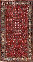 Excellent VINTAGE Hamedan Geometric Area Rug Hand-Knotted Oriental Carpet 4x7