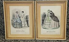 1848 Petit Courrier Des Dames, Paris Framed Hand Colored Prints #2367 & #2369