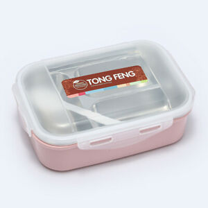 2/3 Compartment Stainless Steel Thermal Lunch Box Kids Adult Food Container Box