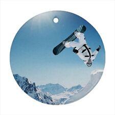 Snowboarding Round Porcelain Ornament - Holiday Seasons