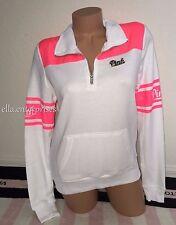 Victoria's Secret Pink White Neon Hot Pink Perfect Quarter Zip Pullover - Small