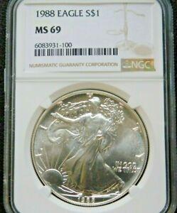 1988 American Silver Eagle NGC MS69 Silver Dollar $1 Gem BU PQ Brown Label