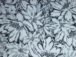 Vtg Wamsutta Nubby Cotton Blend Fabric Black White Mod Floral 44x4.33 yds