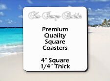 """50 Blank White Square Coasters 4"""" x 1/4"""" Sublimation Heat Transfers Square50"""
