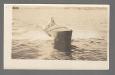 [43329] OLD RPPC EARLY WOODEN MOTOR BOAT OUT ON THE WATER