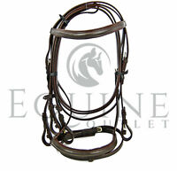 Leather Flash Noseband Bridle, with Rubber Reins. Black & Havana Brown - Deluxe
