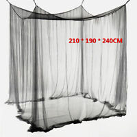 4 Corner Post Bed Canopy Mosquito Net Full Queen King Size Netting Black Bed AY