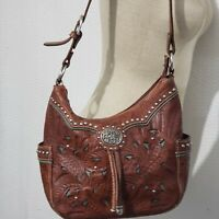American West Brown Leather Lace & Silver Accent Western Shoulder Bag Hobo