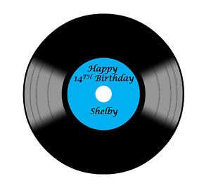 LP Record Yellow Cake topper edible icing or Wafer Personalised