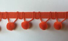 "1/2"" Pom Pom Polyester Ball Fringe Col. Orange - MADE IN THE USA-18 Yard Put-up"