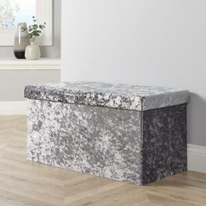 Large Folding Ottoman Grey Ice Velvet Fabric Chest Storage Space Saving Box