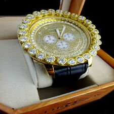 Khronos Mens Yellow Gold Finish Real Diamond Joe Rodeo Cluster Bezel Iced Watch