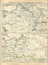Carta geografica antica FRANCIA GERMANIA RUSSIA i confini 1890 Old antique map