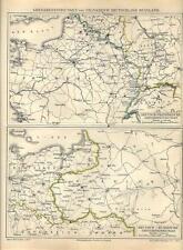 Carta geografica antica FRANCIA GERMANIA RUSSIA i confini 1890 Old antique map