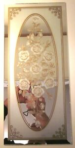 """Curio Mirror Glass 17-1/2"""" Decorated Floral Etched Gilt Flowers Frameless 1 Vtg"""