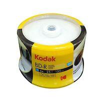 50 KODAK 6X Blank BD-R Blu-Ray 25GB White Inkjet Hub Printable Media Disc