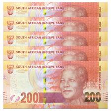 Lot 5 PCS, South Africa 200 Rand, ND 2016/2017, P-142, UNC