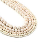 """Synthetic White Turquoises Beads 4 6 8 10 12mm Round Bead 15"""" Full Strand 103041"""