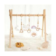 little dove Wooden Baby Gym with 6 Baby Teething Toys Foldable Play Gym Frame.