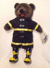 "VINTAGE 1989 FIREFIGHTER FIREMAN BEAR PLUSH 20"" BEAR FORCES OF AMERICA W/ TAG"